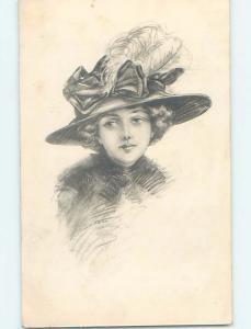 Pre-Linen art nouveau PRETTY GIRL WEARING FEATHER IN HER HAT HL4645