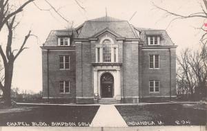 Indianola Iowa~Pathway to Victorian Chapel~Long Windows~Mansard Roof RPPC c1910