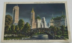Vintage Postcard 1940 Savoy Plaza Sherry Netherlands and Pierre at night