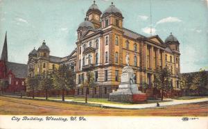 Wheeling West Virginia~Civil War Soldiers Monument at City Building~1909 IPCC