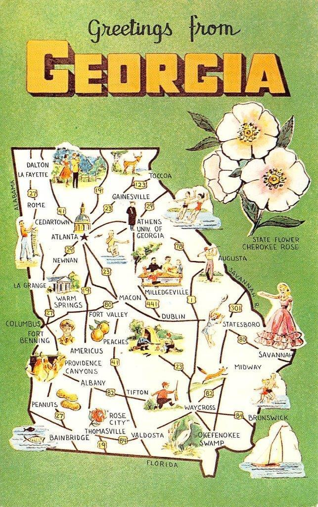 Georgia, MAP CARD - Cities, Statistics & Attractions ... on map of georgia and counties, map of georgia and south carolina beaches, map of georgia and its cities, map of georgia and regions, map of georgia and sites,