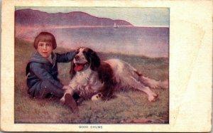 VINTAGE Postcard 1910s Good Chums Boy & His Dog Springer Spaniel Lake
