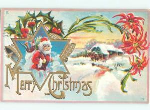 Pre-Linen Christmas SANTA CLAUS AT THE WATERMILL AB4499