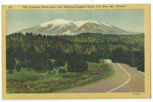 SF Peaks Seen From Williams-Flagstaff Cureteich Co. U.S. Hwy 66 Postcard VPC1.
