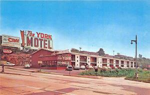 North Berge NJ The York Motel Lincoln Tunnel Billboard Old Cars Postcard