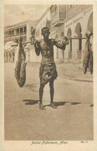 Yemen Aden native fisherman fish seller postcard