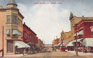 Street Scene, State Street, St. Joseph, Michigan, early postcard, used