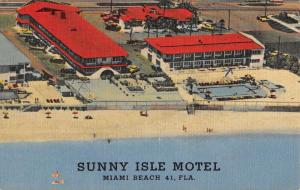 Miami Beach Florida Sunny Isle Motel Birdseye View Antique Postcard K107008