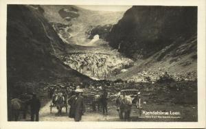norway norge, LOEN, Kjendalsbræ, Horse Carts (1920s) RPPC