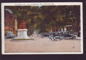 P1660 1924 used postcard old cars state st. from longfellow sq. portland maine