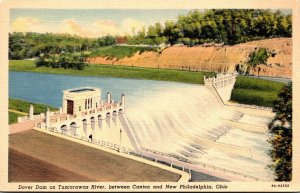 Ohio Dover Dam On Tuscarawas River Between Canton and New Philadelphia Curteich