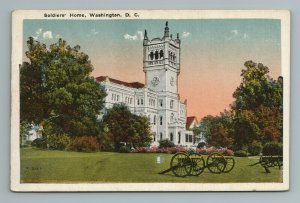 Soldiers Home Clock Tower Canon Gun Field Washington D.C. Postcard