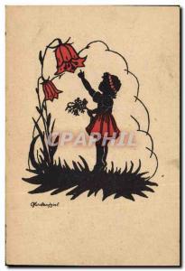Old Postcard Against Child light