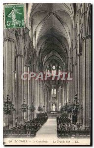 Old Postcard Bourges La Cathedrale La Grande Nef