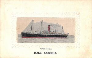 Stevengraph Woven in Silk Ship R.M.S. Saxonia Postcard
