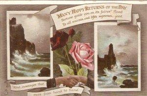 Roses.Brave Seas. Birthday Message Tuck Birthday Greetings Ser. PC # 2315