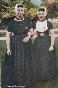 Netherlands Vissingen Zeeuwsche Meisjes Locals In Traditional Costume