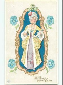 Unused Pre-Linen new year PRETTY WOMAN IN COLONIAL ERA DRESS AND WIG k4958