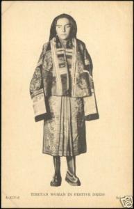 tibet thibet, Native Woman in Festive Dress (1930s)