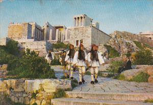 Greece Athens Evzones and Propylaea of Acropolis