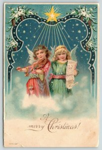 Christmas~Pink Green Angel Girls in Clouds~Play Violin~Sing~Pine Cone Portal~Emb