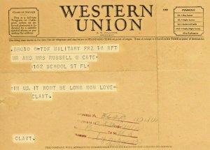 Vintage 1940s Western Union Telegram Soldier returning from WW2.     Y7