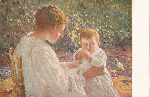 Pla y Rubio. Mother with Son. El Primer Hijo Fine painting vintage  Spanish PC