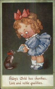 Children Day of the Week Series FRIDAY Charity Feeds Cat c1910 Postcard