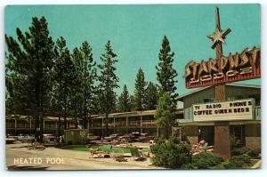 Postcard CA Stateline Stardust Lodges Motel Near Lake Tahoe 1950's Old Cars