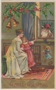 A MERRY CHRISTMAS, 1907; Santa delivering toys thru open window
