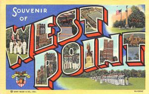 West Point NY Army School Curt Teich Large Letter Linen Postcard
