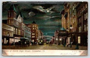 Columbus Ohio~North High Street Clock~Night Lights~Budweiser~Trolleys~1910 PC