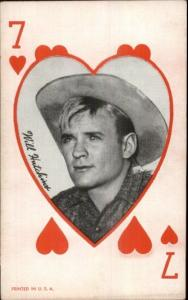 Cowboy Actor Mutoscope Exhibit Card - 7 of Hearts Will Hutchins