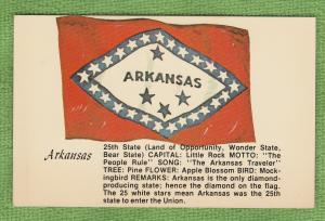 Arkansas Flag Postcard Tree, Flower, Bird, State, and Facts