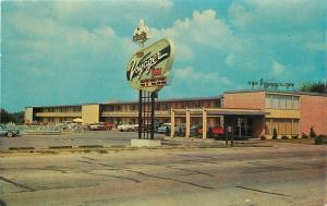 Decatur Illinois~Barding's Voyager Inn~Best Western Motel~1950-60s Cars~Postcard