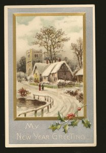 Postmark 1909 Toronto Canada New Year Greetings Embossed Postcard