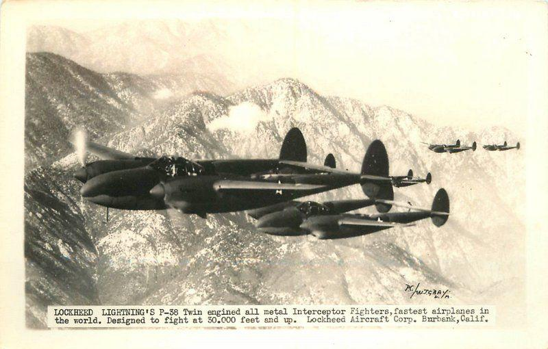 Aviation 1940s WW2 Military Lockheed Lightening P-38 Interceptor plane RPPC 7573