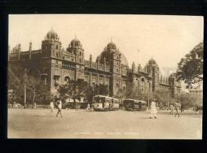 213618 INDIA BOMBAY General post office TRAMS Vintage TUCK PC