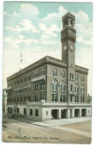 Worcester, Mass, Central Fire Station, 1907 used Postcard