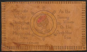 Leather Lady Portrait Inside Ships Wheel May Your Voyage... Used c1905