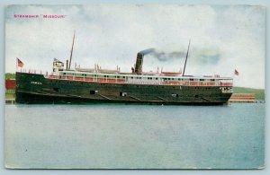 Great Lakes Michigan Transit US Mail Steamship Missouri~Cool on Boat~1912 Hammon