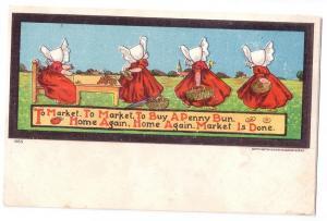 Sunbonnet Girls Ullman Nursery Rhyme To Market Postcard UDB