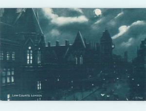 Unused Old Postcard LAW COURTS Night View Of London England UK F5348