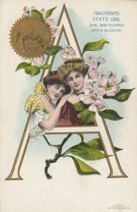 ARKANSAS Girl , Seal & Flower , 1901-07