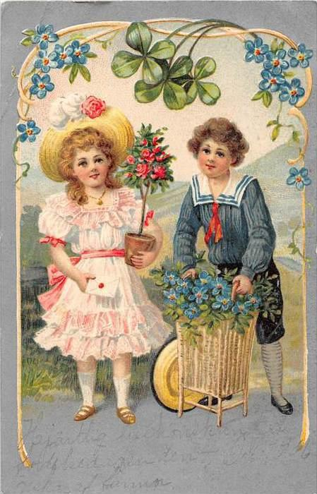 Little Girl and Little boy with baskets of flowers and under 4 leaf clover