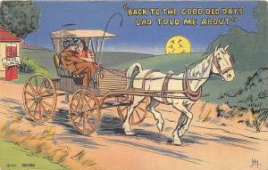 Comic Postcard Back to Good Old Days~Mailed @ Virginia Beach Virginia