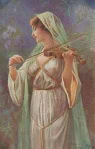Illustrator Arno von Riesen Lady Playing Violin 04.39