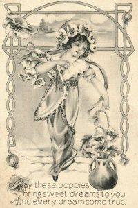 C.1910 Fantasy Cute Girl Poppies Hallucinations Dreams Wishes Poem P7
