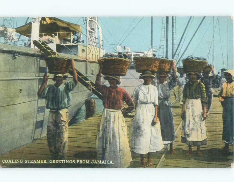 W-Border JAMAICANS UNLOAD COAL STEAMER SHIP Published In Kingston Jamaica E8139