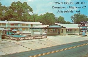 Arkadelphia Arkansas~Downtown Town House Motel~Pool~1950s Cars~Postcard